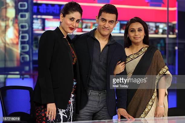 Actress Kareena Kapoor actor Aamir Khan and Rani Mukherjee at India Today Mediaplex to promote their upcoming film Talaash