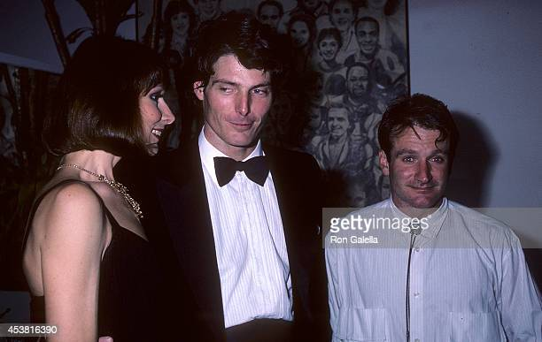 Actress Karen Akers actor Christopher Reeve and actor Robin Williams attend Sting in Concert The Dream of the Blue Turtles Tour at Madison Square...