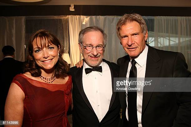 Actress Karen Allen Director Steven Spielberg and actor Harrison Ford attend the 'Indiana Jones and the Kingdom of the Crystal Skull' party during...