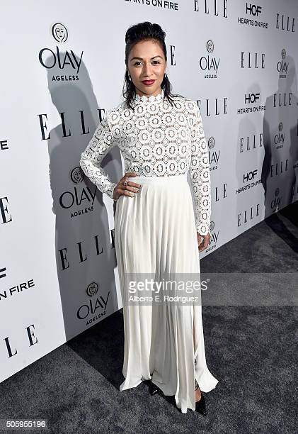 Actress Karen David attends ELLE's 6th Annual Women in Television Dinner Presented by Hearts on Fire Diamonds and Olay at Sunset Tower on January 20...