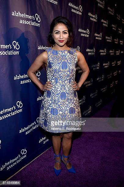 """Actress Karen David attends the 24th and final """"A Night at Sardi's"""" to benefit the Alzheimer's Association at The Beverly Hilton Hotel on March 9,..."""
