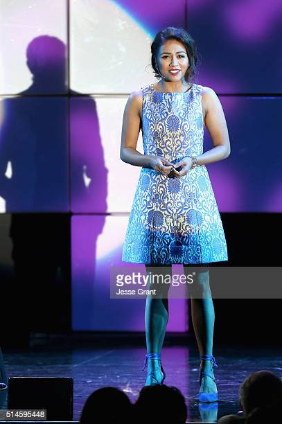 Actress Karen David performs onstage during the 24th and final A Night at Sardi's to benefit the Alzheimer's Association at The Beverly Hilton Hotel...