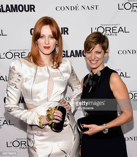 Actress Karen Elson and editorinchief of Glamour magazine Cindi Leive attend the Glamour 2014 Women Of The Year Awards at Carnegie Hall on November...