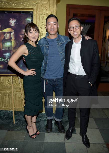 "Actress Karen Fukuhara and Leonardo Nam and director Joe Sill attend the world premiere of ""Stray"" at the Vista Theatre on February 25, 2019 in Los..."