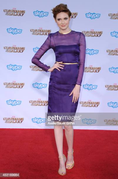 Actress Karen Gillan arrives at the Los Angeles premiere of 'Guardians Of The Galaxy' at the El Capitan Theatre on July 21 2014 in Hollywood...