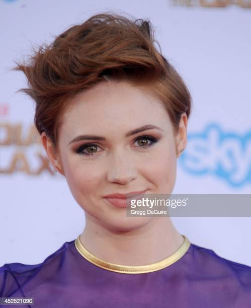 Actress Karen Gillan arrives at the Los Angeles premiere of Marvel's Guardians Of The Galaxy at the El Capitan Theatre on July 21 2014 in Hollywood...