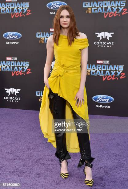 Actress Karen Gillan arrives at the premiere of Disney and Marvel's 'Guardians of the Galaxy Vol. 2' at Dolby Theatre on April 19, 2017 in Hollywood,...