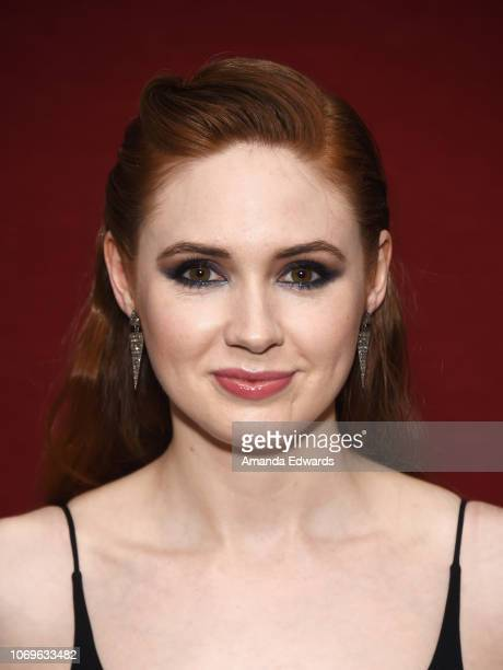 Actress Karen Gillan attends a special screening of The Orchard's The Party's Just Beginning at Laemmle's Monica Film Center on December 7 2018 in...