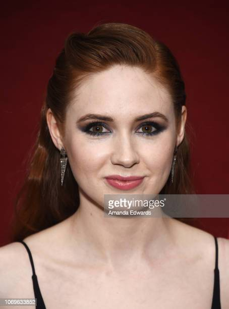 Actress Karen Gillan attends a special screening of The Orchard's 'The Party's Just Beginning' at Laemmle's Monica Film Center on December 7 2018 in...