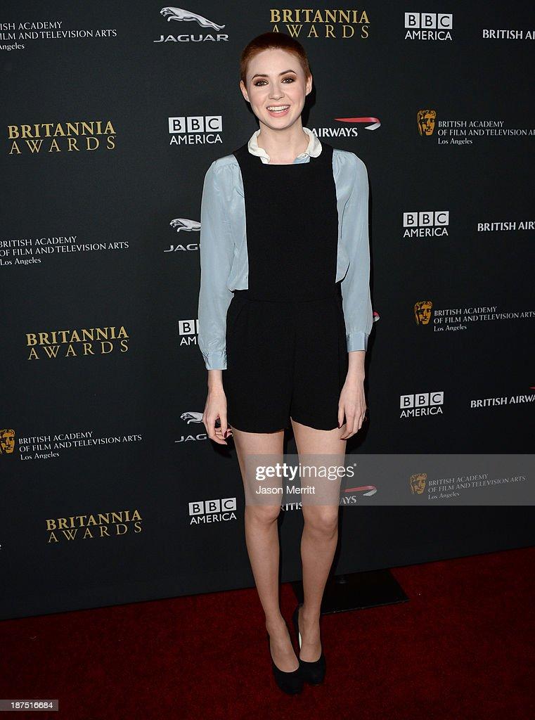 Actress Karen Gillan attends the 2013 BAFTA LA Jaguar Britannia Awards presented by BBC America at The Beverly Hilton Hotel on November 9, 2013 in Beverly Hills, California.