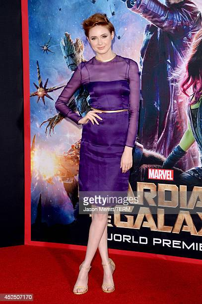 Actress Karen Gillan attends the premiere of Marvel's Guardians Of The Galaxy at the Dolby Theatre on July 21 2014 in Hollywood California