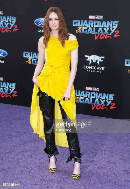 Actress Karen Gillan attends world premiere of Disney and Marvel's' 'Guardians Of The Galaxy 2' at Dolby Theatre on April 19 2017 in Hollywood...