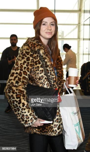 Actress Karen Gillan is seen at Haneda airport on March 16 2018 in Tokyo Japan