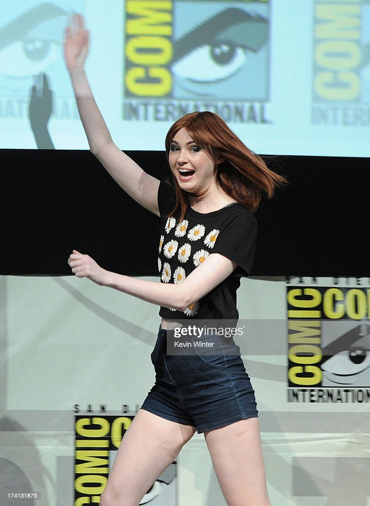 Actress Karen Gillan speaks onstage at Marvel Studios 'Guardians of the Galaxy' during Comic-Con International 2013 at San Diego Convention Center on July 20, 2013 in San Diego, California.
