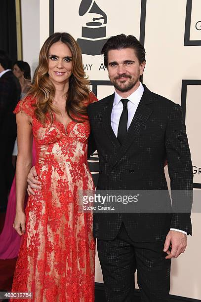 Actress Karen Martinez and recording artist Juanes attend The 57th Annual GRAMMY Awards at the STAPLES Center on February 8 2015 in Los Angeles...