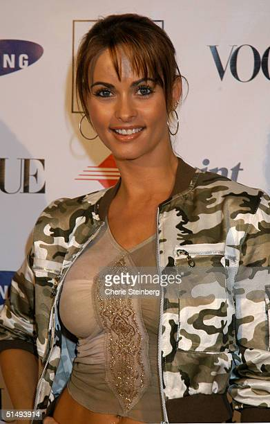 Actress Karen McDougal arrives at the launch party to celebrate Diane von Furstenberg's limited edition designer mobile phone at Astra West in the...