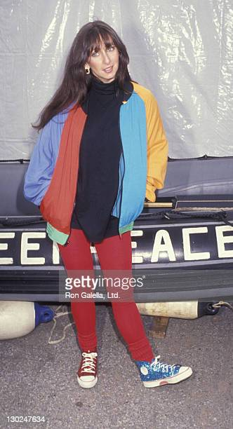 Actress Karen Salkin attends Greenpeace Rainbow Warrior Rally on February 1 1992 in San Pedro California