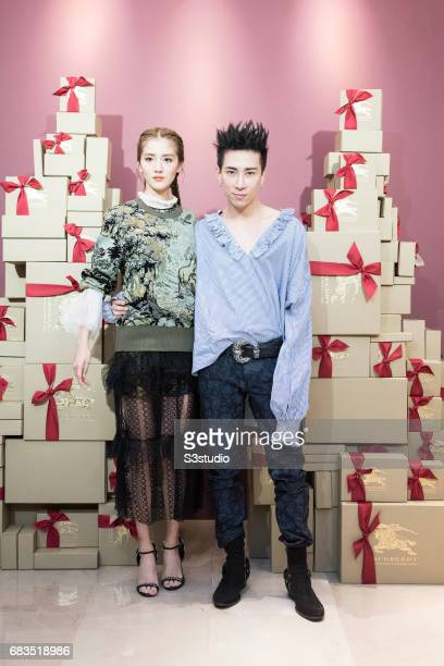 Actress Karena Ng and Celebrity Stylist and Founder of Fameglory and KOL base Kevin Ma pose for a photograph on the red carpet at the Burberry...