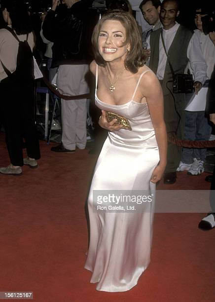 Actress Kari Wuhrer attends the 'Anaconda' Westwood Premiere on April 7 1997 at Mann Village Theatre in Westwood California
