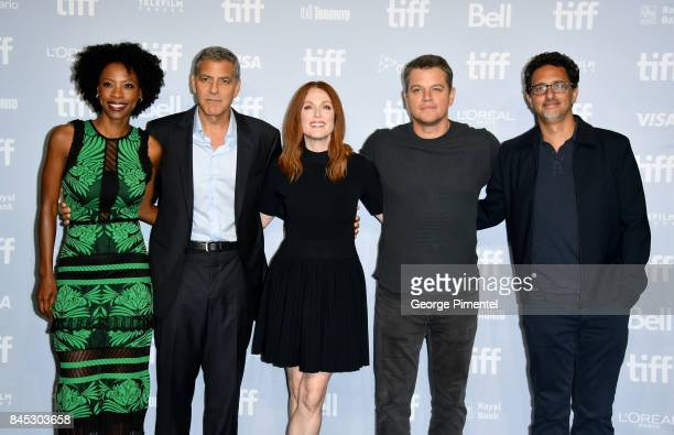 Actress Karimah Westbrook writer/director/producer George Clooney actors Julianne Moore Matt Damon and writer/producer Grant Heslov attend the...