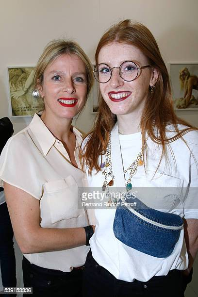 Actress Karin Viard and her daughter Margueritte Machuel attend the '55 Politiques' Exhibition of Stephanie Murat's Pictures Opening Party at Galerie...