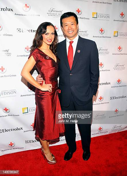 Actress Karina Smirnoff and CEO of Electrolux Jack Truong arrive at the American Red Cross Annual Red Tie Affair at the Fairmont Miramar Hotel on...