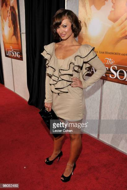 "Actress Karina Smirnoff arrives at the ""The Last Song"" Los Angeles premiere held at ArcLight Hollywood on March 25, 2010 in Hollywood, California."