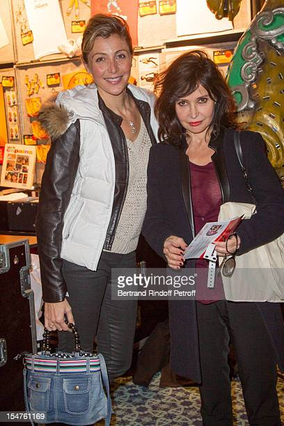 Actress Karine Belly and actress Evelyne Bouix attend 'Salut Les Copains' - The Musical Gala Event Hosted By Europe 1, at Folies Bergeres on October...