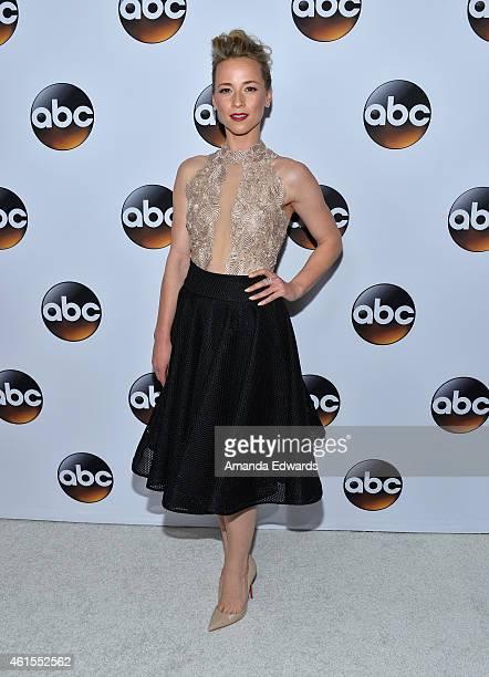 Actress Karine Vanasse arrives at the ABC TCA Winter Press Tour 2015 Red Carpet on January 14 2015 in Pasadena California