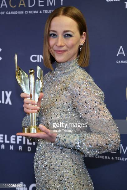 Actress Karine Vanasse poses at the 2019 Canadian Screen Awards Broadcast Gala held at Sony Centre for the Performing Arts on March 31 2019 in...