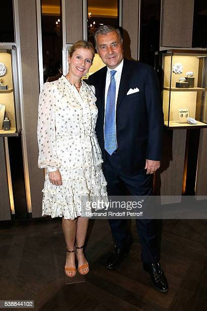 Actress Karine Viard and Andrea Buccellati attend the Opening of the Boutique Buccellati situated 1 Rue De La Paix in Paris, on June 8, 2016 in...