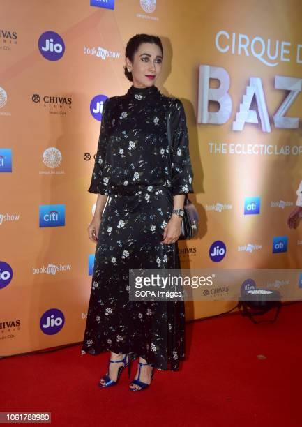 Actress Karisma Kapoor seen attending the red carpet during the World Premiere of Cirque du Soleil opening night of BAZZAR at the MMRDA ground in...