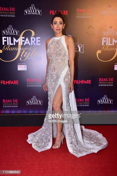 Actress Karisma Kapoor seen posing for the cameras at the Filmfare Glamour and Style Awards 2019 at hotel JW Marriott, juhu in Mumbai.