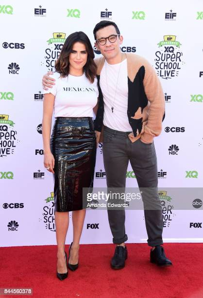 Actress Karla Souza and actor Conrad Ricamora arrive at the EIF Presents XQ Super School Live event at The Barker Hanger on September 8 2017 in Santa...