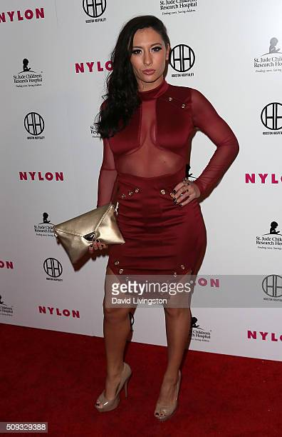 Actress Karlee Perez attends the Muses and Music party hosted by NYLON Magazine at No Vacancy on February 9, 2016 in Los Angeles, California.