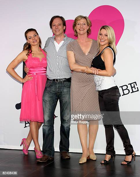 Actress Karolina Lodyga actor Rainer Will actress Heike Jonca and actress Jeanette Biedermann attend a photocall to the new German television SAT1...