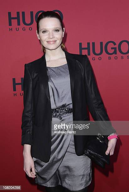 Actress Karoline Herfurth attends the Hugo Boss Show during the Mercedes Benz Fashion Week Autumn/Winter 2011 at Neue Nationalgalerie on January 20...