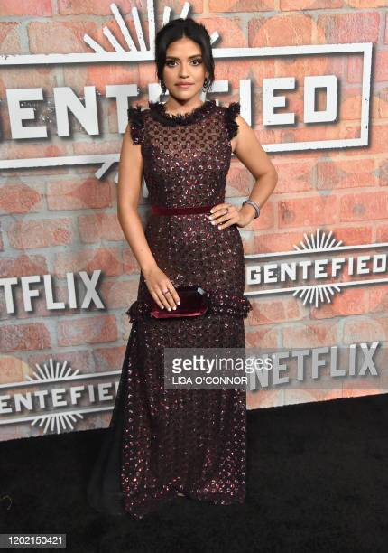 Actress Karrie Martin arrives for Netflix's Gentefied premiere at Plaza De La Raza gallery in Los Angeles on February 20 2020