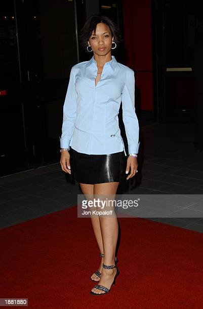 Actress Karrine Steffans attends the premiere of Dysfunktional Family at AMC Theatres Hollywood Galaxy 6 on March 27 2003 in Hollywood California