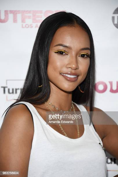 Actress Karrueche Tran arrives at a special screening of TNT's 'CLAWS' with TurnOUT LA and OUTFEST at the Los Angeles LGBT Center on June 24 2018 in...