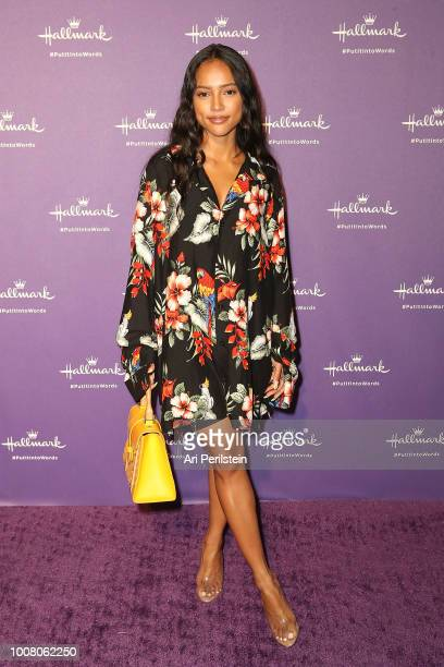 Actress Karrueche Tran arrives at Hallmark's When You Care Enough to Put It Into Words Launch Event on July 30 2018 in Los Angeles California