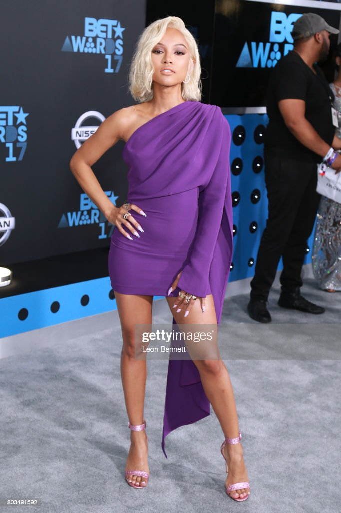 Actress Karrueche Tran arrives at the 2017 BET Awards at Microsoft Theater on June 25, 2017 in Los Angeles, California.