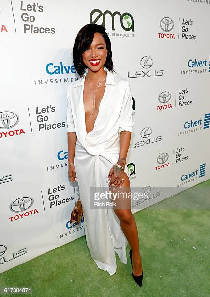 Actress Karrueche Tran attends the Environmental Media Association 26th Annual EMA Awards Presented By Toyota, Lexus And Calvert at Warner Bros....