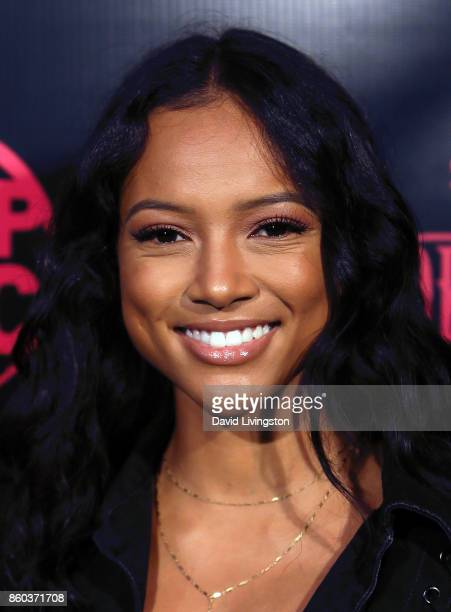 Actress Karrueche Tran attends the premiere for TBS's 'Drop The Mic' and 'The Joker's Wild' at The Highlight Room on October 11 2017 in Los Angeles...