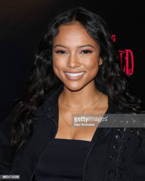 Actress Karrueche Tran attends the premiere for TBS's Drop The Mic and The Joker's Wild at The Highlight Room on October 11 2017 in Los Angeles...