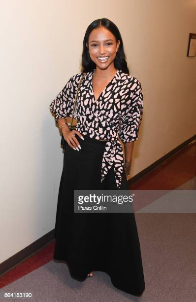 Actress Karrueche Tran backstage at Careers In Entertainment Tour Atlanta at Morehouse College on October 20 2017 in Atlanta Georgia