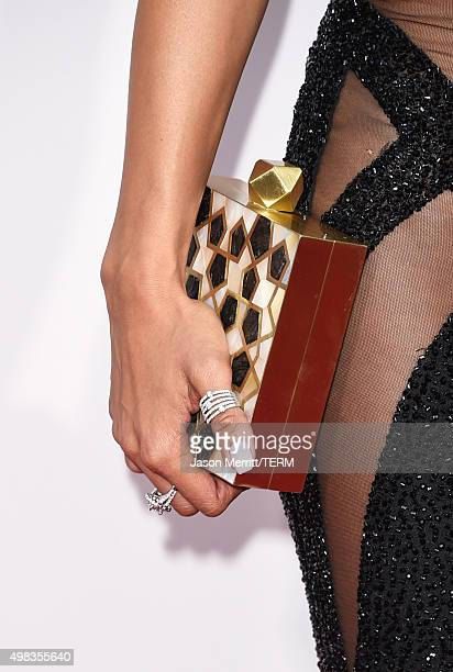 Actress Karrueche Tran fashion detail attends the 2015 American Music Awards at Microsoft Theater on November 22 2015 in Los Angeles California