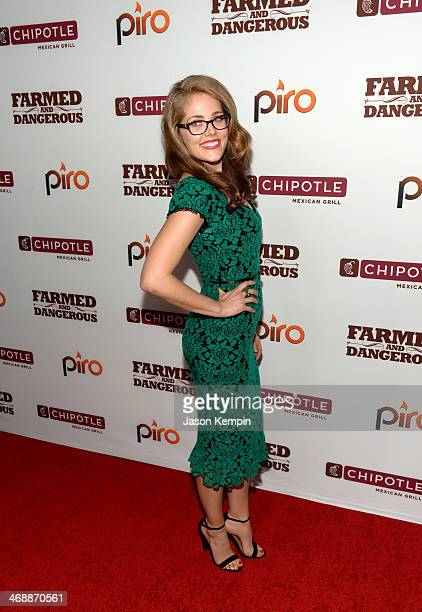 Actress Karynn Moore walks the red carpet at the world premiere of Farmed and Dangerous a Chipotle/Piro production at DGA Theater on February 11 2014...