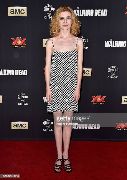 """Actress Kasha Kropinski attends the season 5 premiere of """"The Walking Dead"""" at AMC Universal City Walk on October 2, 2014 in Universal City,..."""