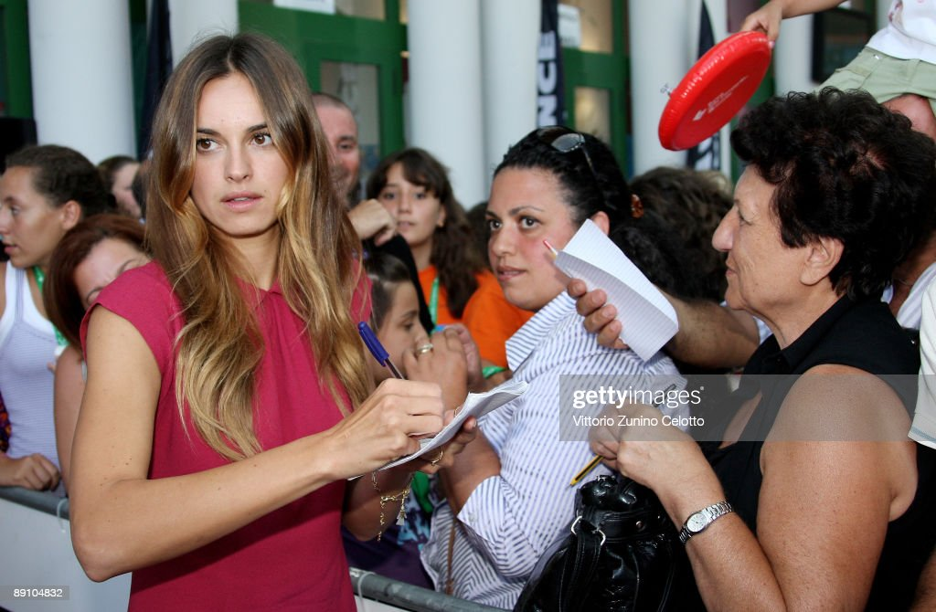 Actress Kasia Smutniak acknowledges the applause of the fans during the 2009 Giffoni Experience on July 19, 2009 in Salerno, Italy.